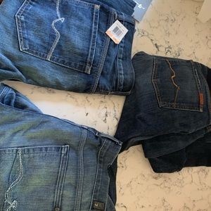 3 pairs of 7 for all mankind jeans